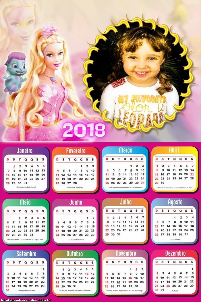 Calendário 2018 Barbie Bichinho Bibou