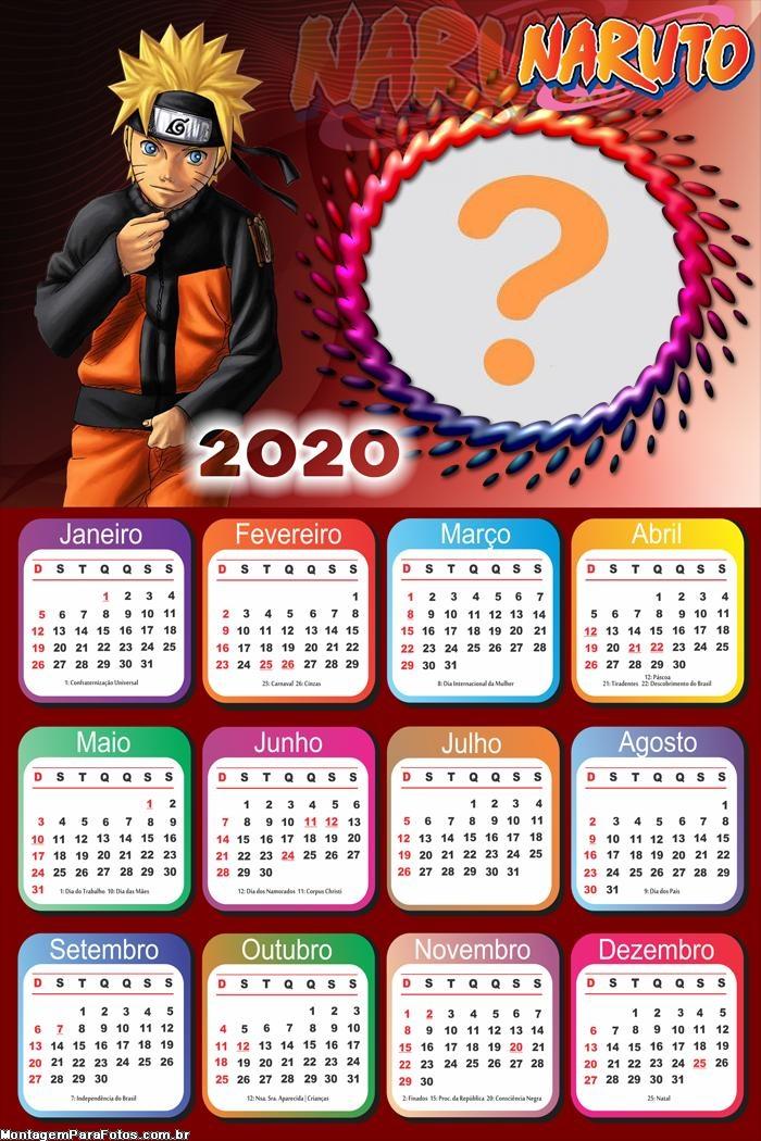Calendário 2020 Naruto Foto Colagem