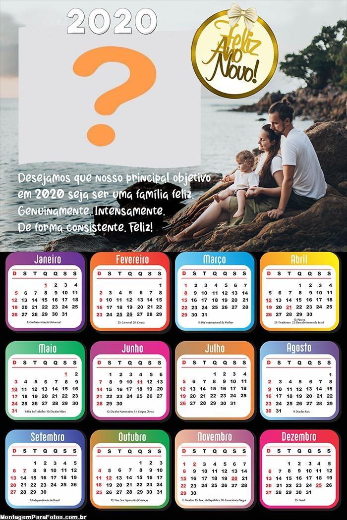 Calendário 2020 Família Feliz Ano Novo