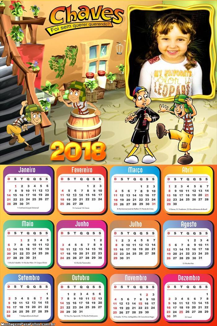 Calendário 2018 Kiko e Chaves Desenho