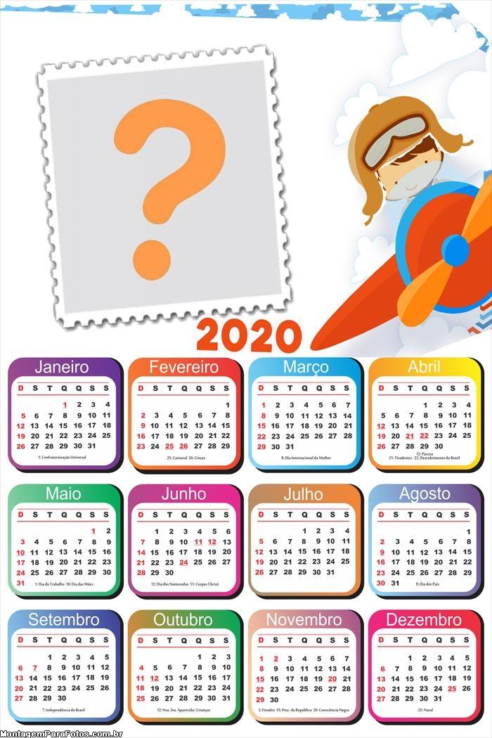 Calendário 2020 Menino Aviador Moldura Online