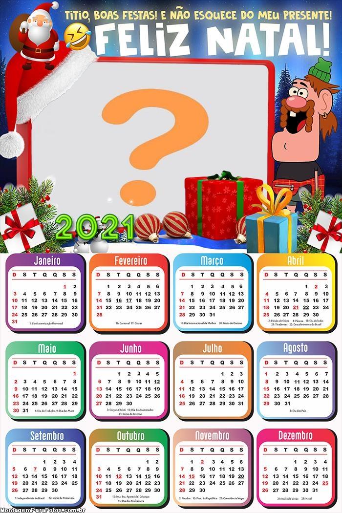 Moldura Fotos com Calendário 2021 Natal com Tio
