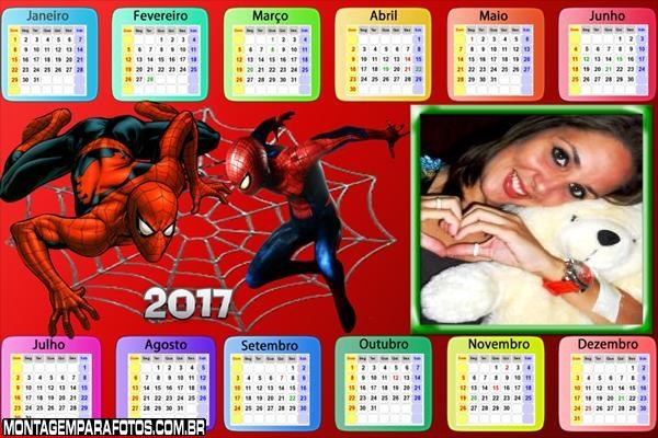 Calendário 2017 Horizontal Galinha Pintadinha do Homem Aranha