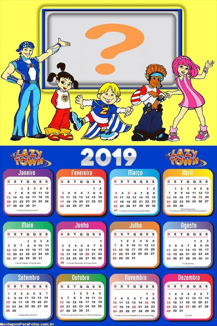 Calendário 2019 Personagem Lazy Town Desenho