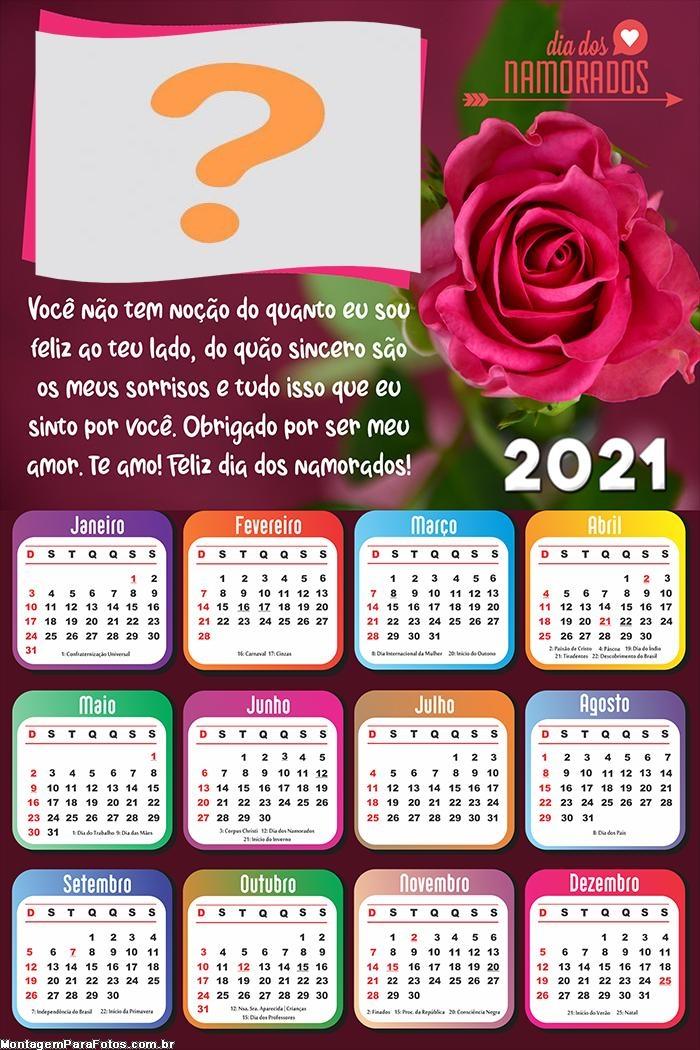 Calendário 2021 para o Dia dos Namorados
