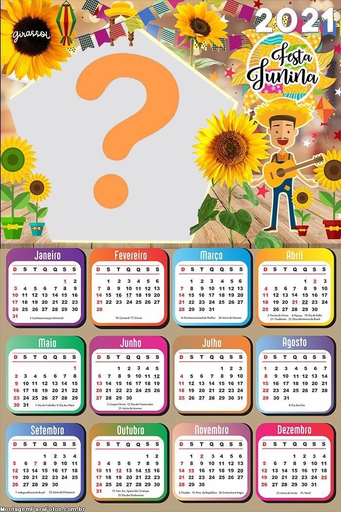 Calendário 2021 Girassol Festa Junina Foto Online