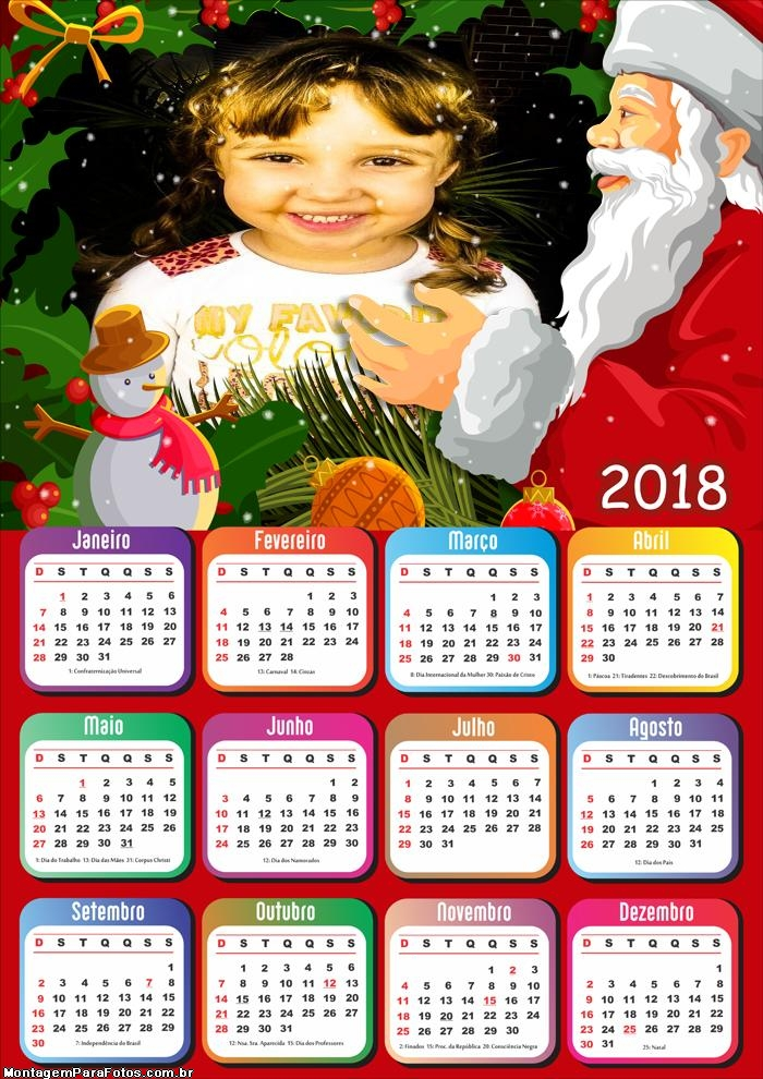 Abraço do Papai Noel Calendário 2018
