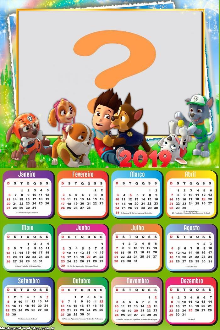 Calendário 2019 Patrulha Canina Disney