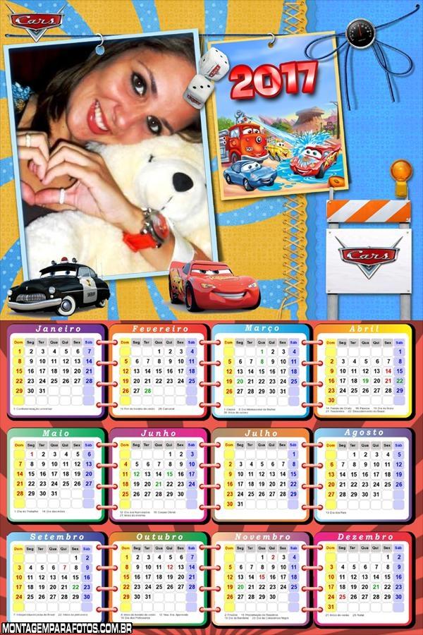 Calendário 2017 Filme dos Carros