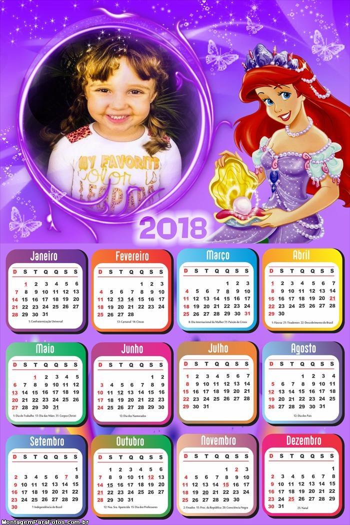 Calendário 2018 Princesa Arial