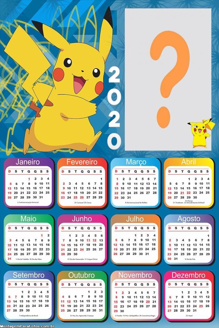 Calendário 2020 do Pikachu
