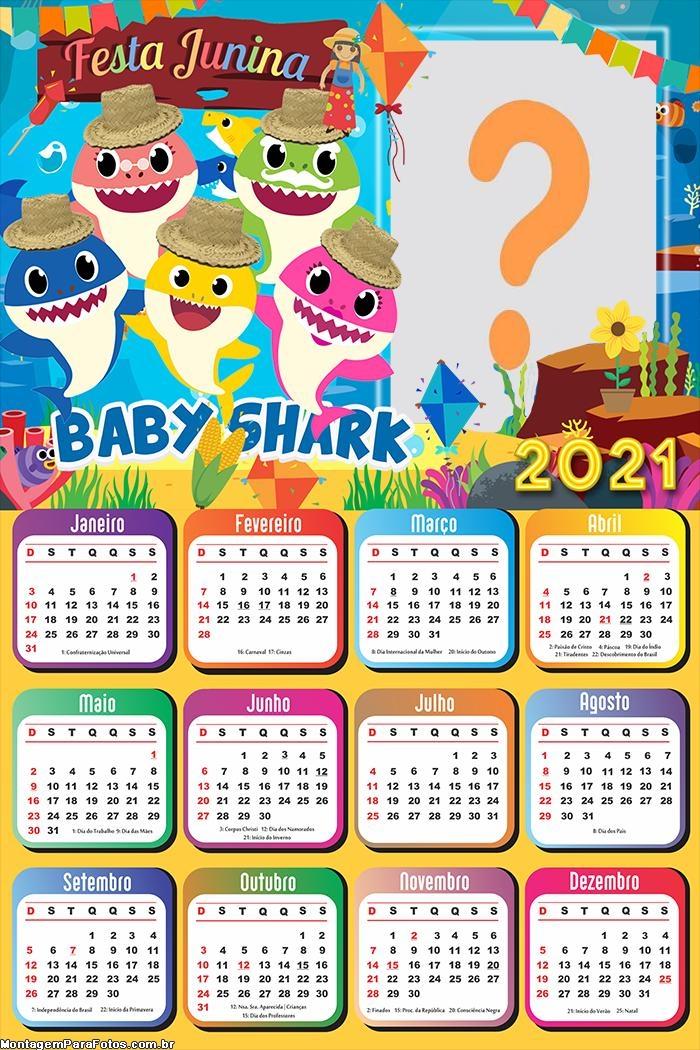 Calendário 2021 Festa Junina Baby Shark