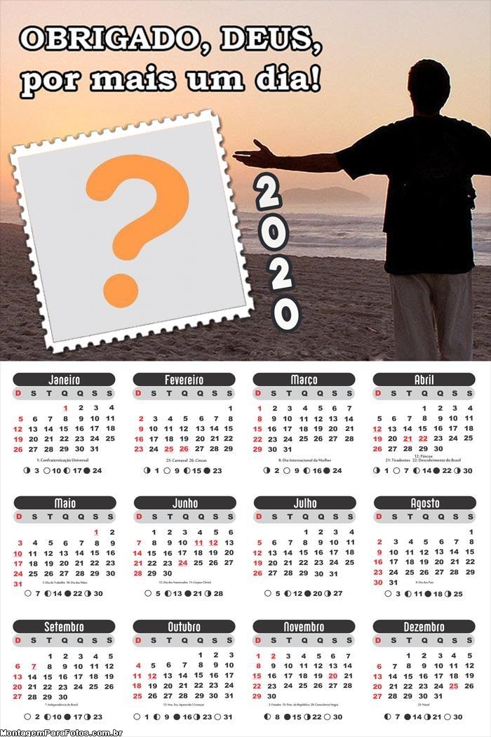 Calendário 2020 Obrigado Deus por Mais um Dia