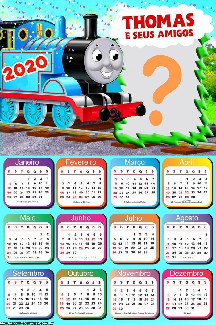 Calendário 2020 Thomas e Seus Amigos para Aniversário