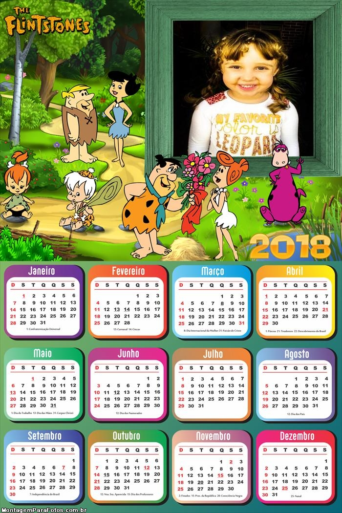 Calendário 2018 dos Flinstones