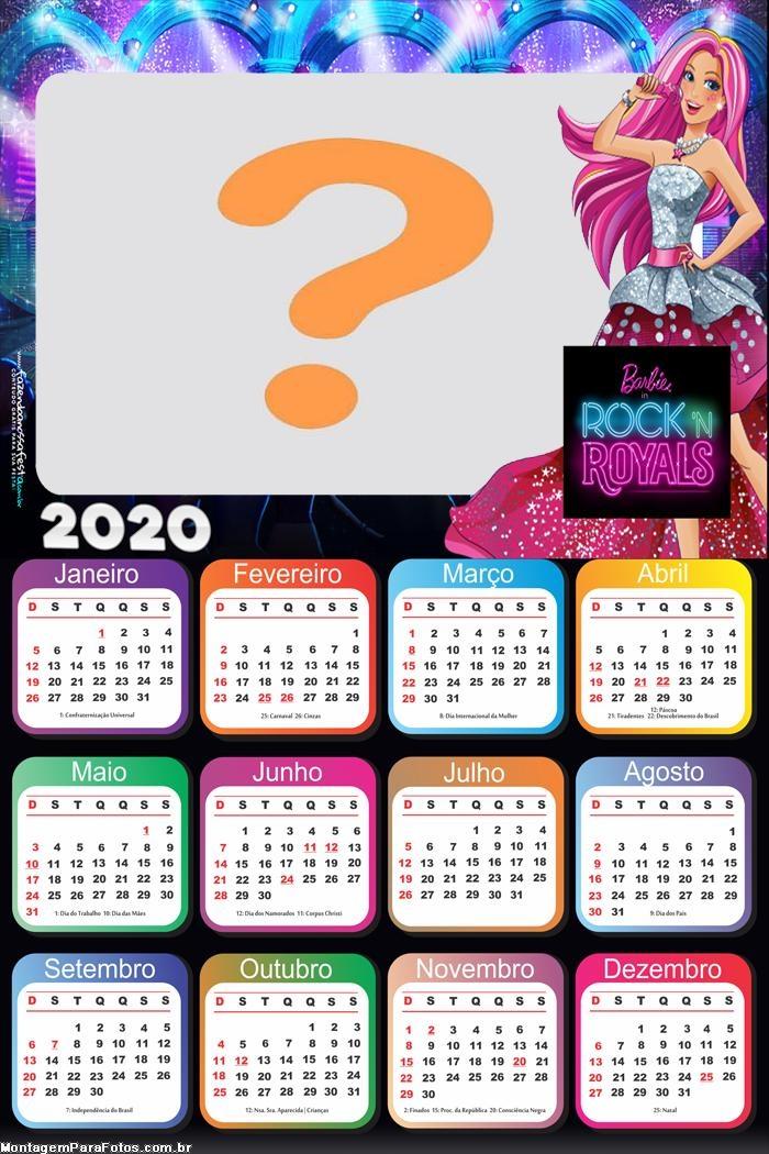 Calendário 2020 da Barbie in Rock Royals