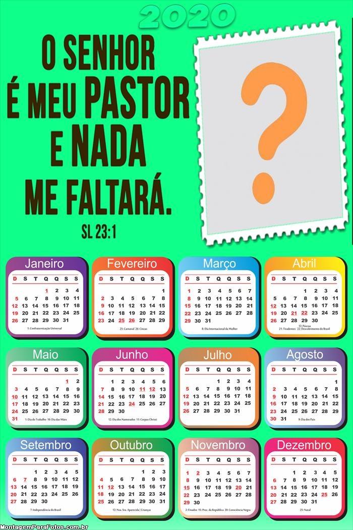 Calendário 2020 O Senhor é Meu Pastor e Nada me Faltará