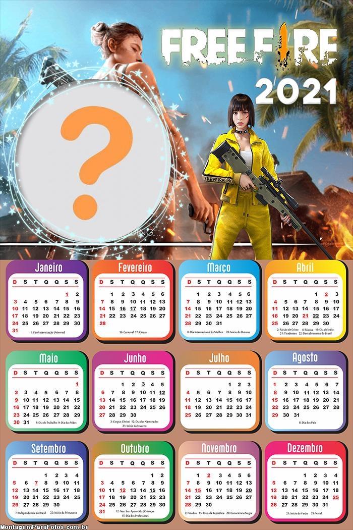 Calendário 2021 Free Fire Montagem de Fotos On Line
