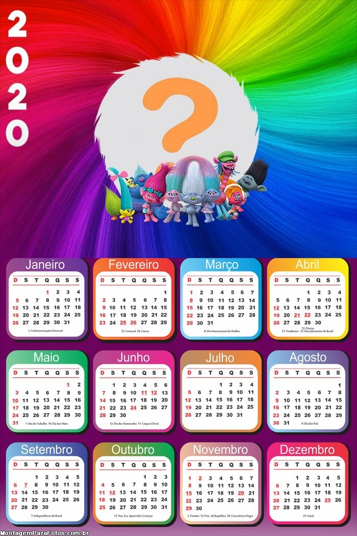 Calendário 2020 do Trolls Montagem de Foto Grátis
