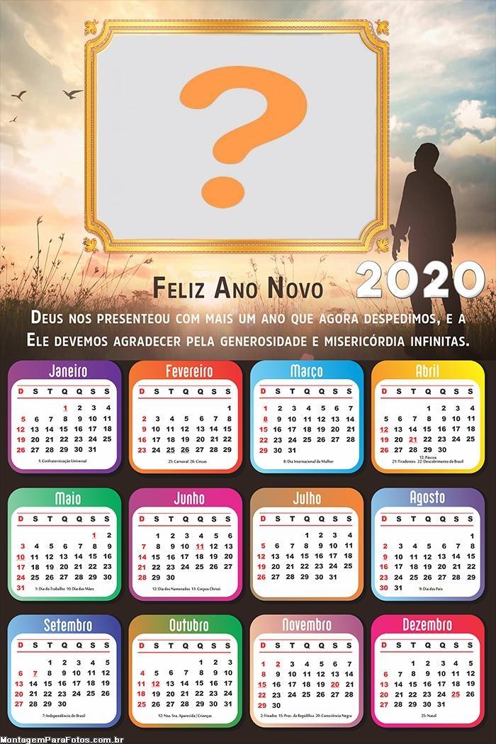 Calendário 2020 Agradecimento Feliz Ano Novo