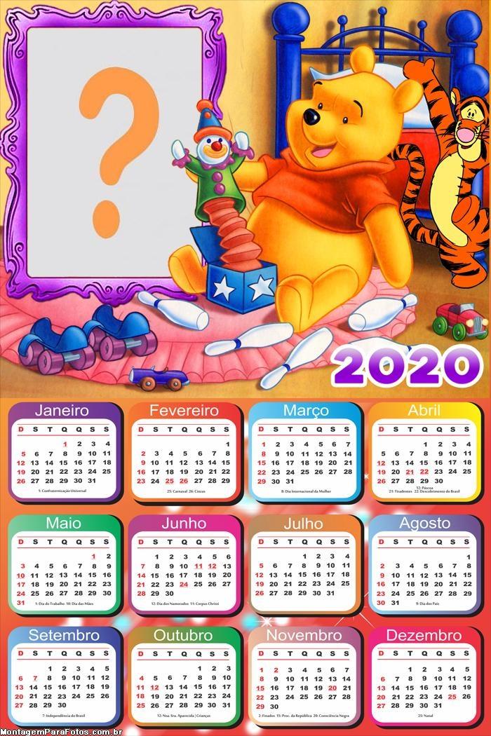 Calendário 2020 Brincando com Pooh