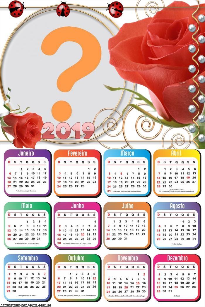 Calendário 2019 Rosa Vermelhas