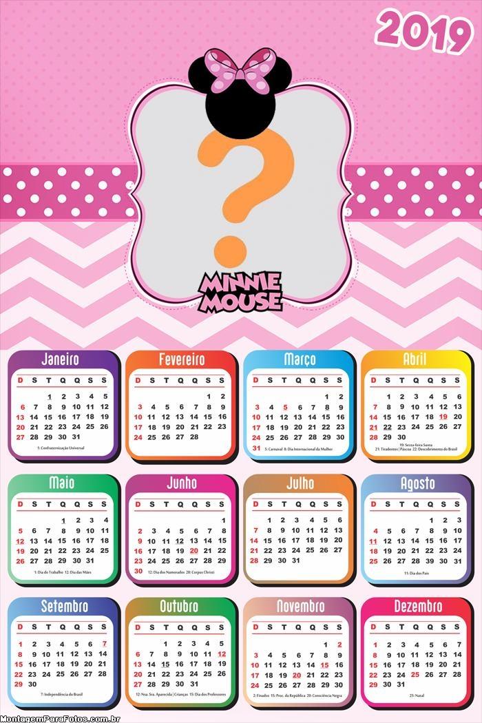 Calendário 2019 Tema Minnie