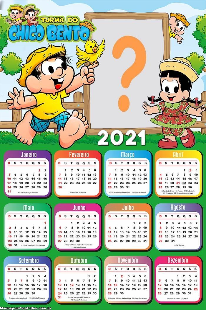 Calendário 2021 do Chico Bento com Foto