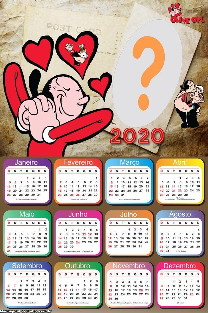 Calendário 2020 Olivia Palito Apaixonada Moldura
