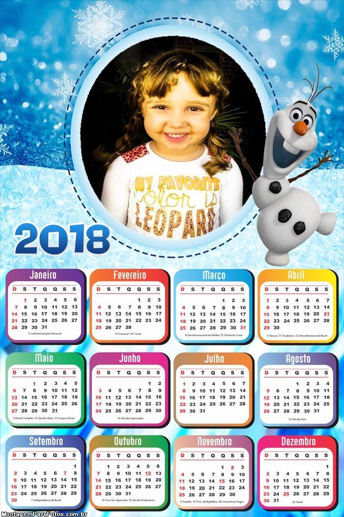 Calendário 2018 Boneco de Neve Frozen