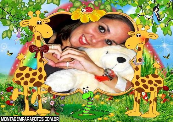 Casal de Girafas na Floresta