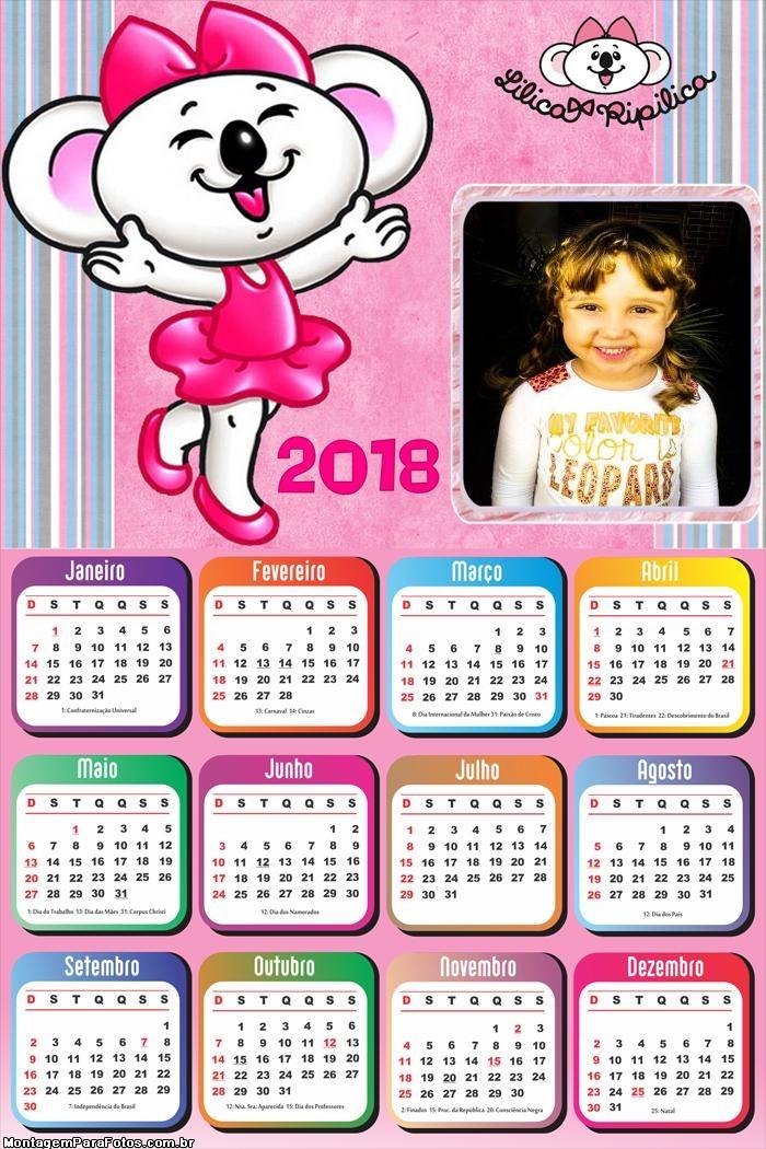 Calendário 2018 Lilica Ripilica