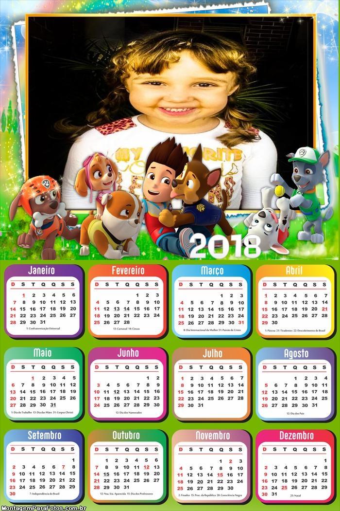 Calendário 2018 Patrulha Canina Desenho