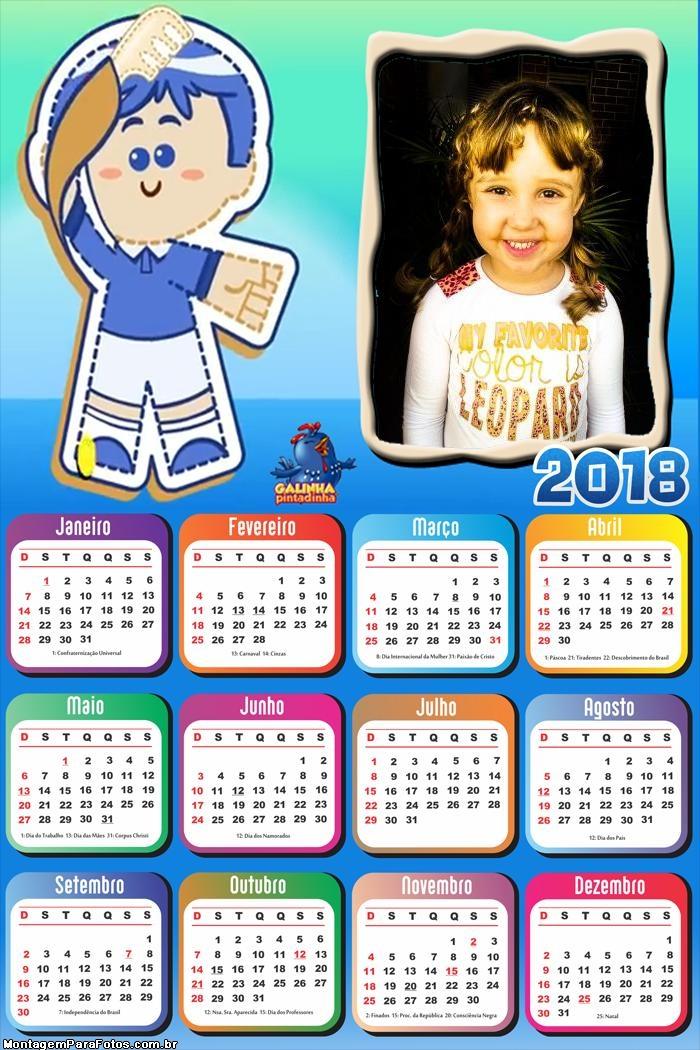 Calendário 2018 Pim Pom Galinha Pintadinha