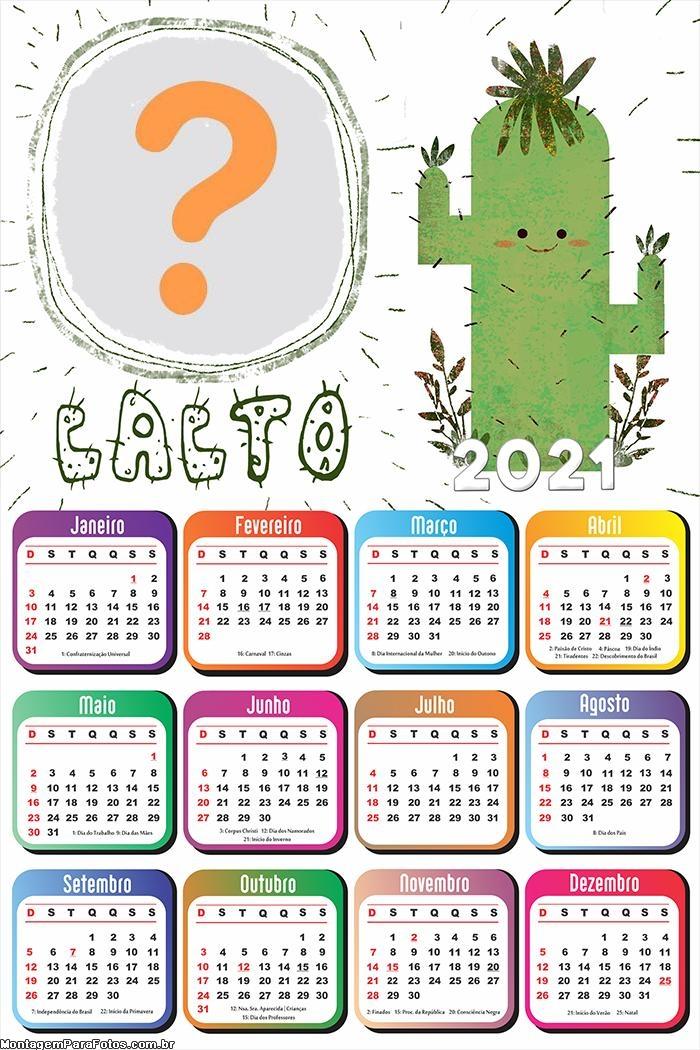 Calendário 2021 Cacto Infantil