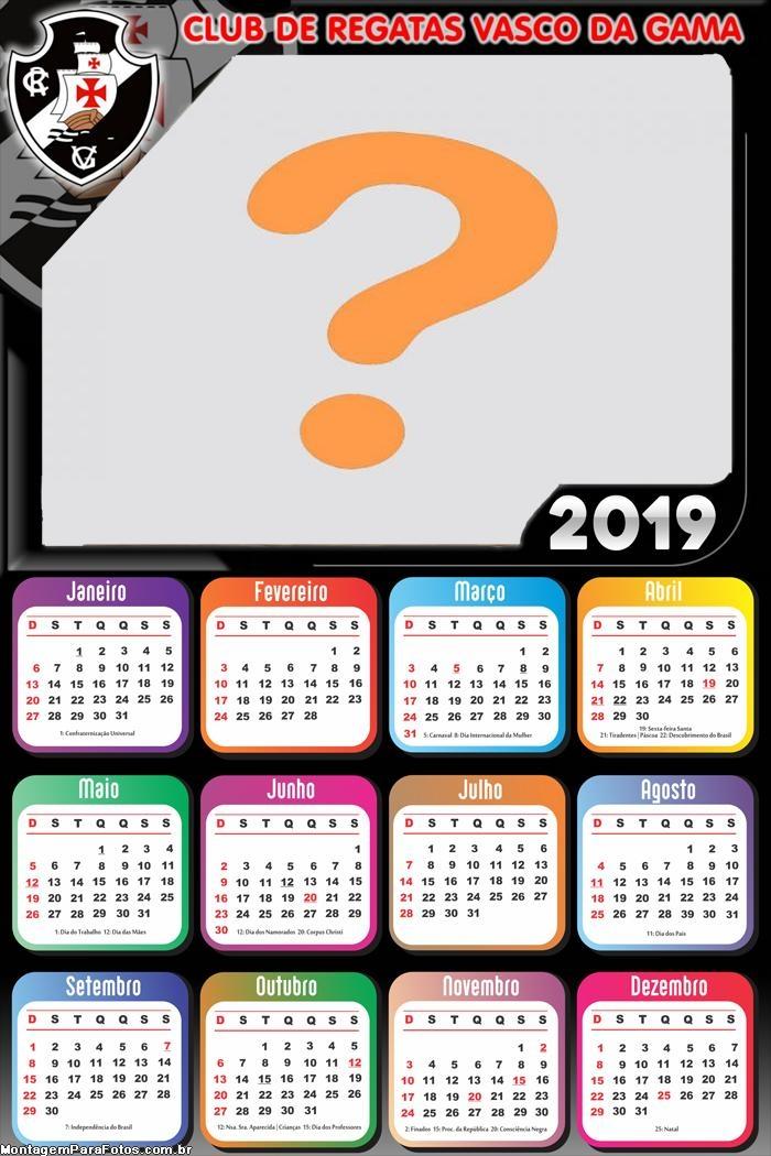 Calendário 2019 Vasco da Gama