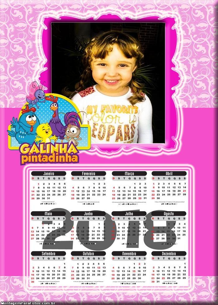 Calendário 2018 Rosa da Galinha Pintadinha