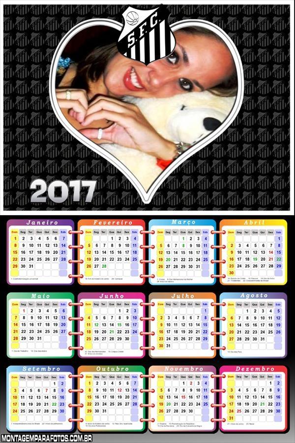 Calendário 2017 Coração Santista