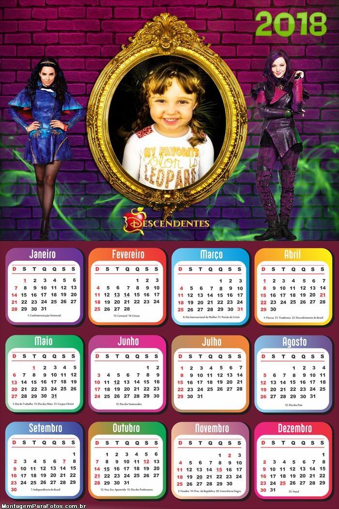 Calendário 2018 Personagens Descendentes
