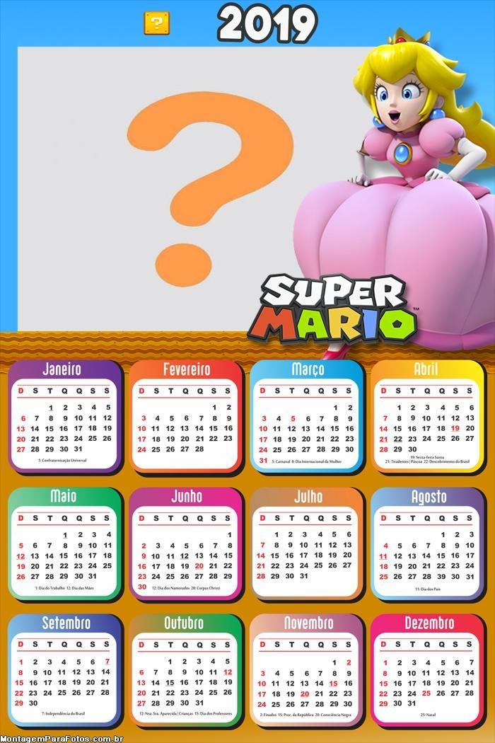 Calendário 2019 Princesa Super Mario