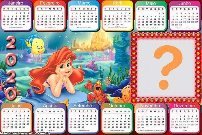 Calendário 2020 Horizontal da Ariel Princesa