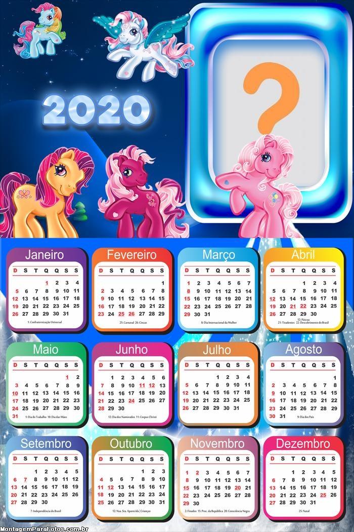 Calendário 2020 dos Pôneis Moldura