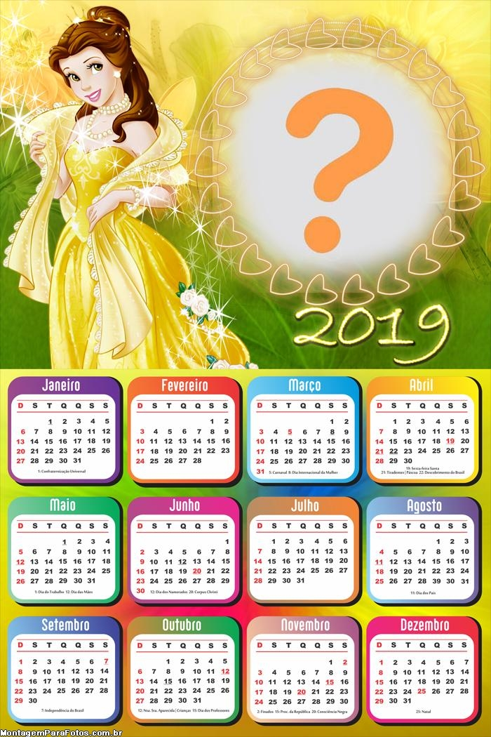 Calendário 2019 Princesa Bela