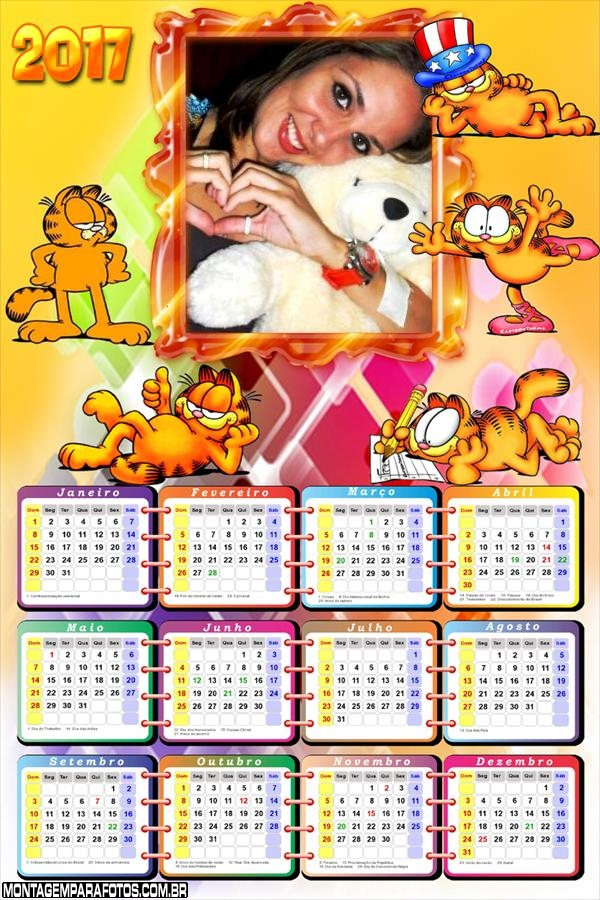 Calendário 2017 Gato Gordo Garfield