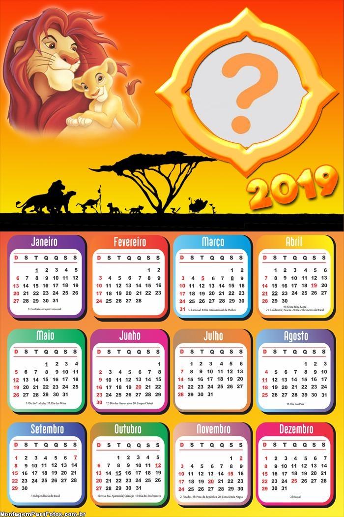 Calendário 2019 Rei Leão