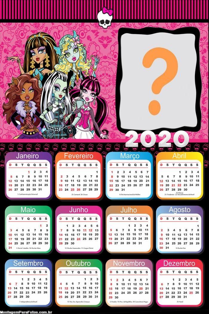 Calendário 2020 Monster High Moldura