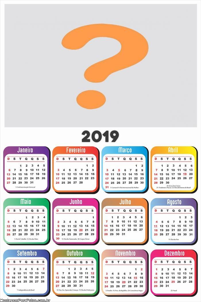 Calendário 2019 em Branco Base Colorida