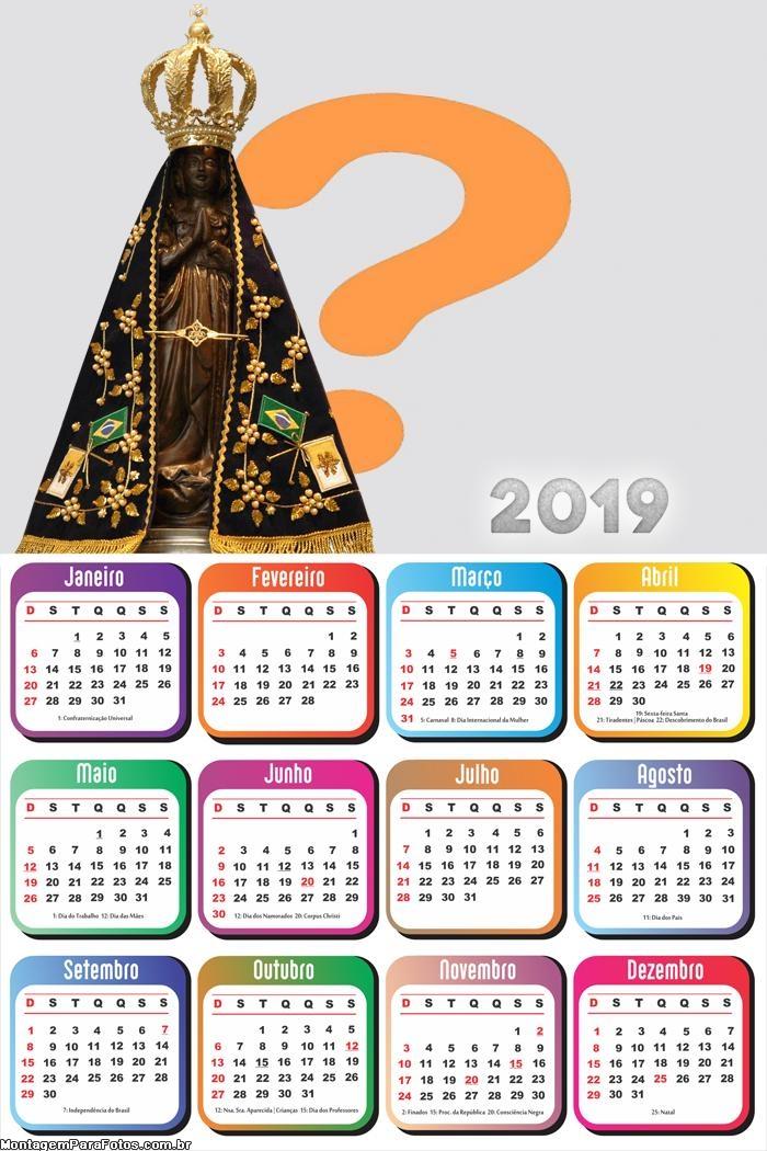 Calendário 2019 Nossa Senhora Aparecida