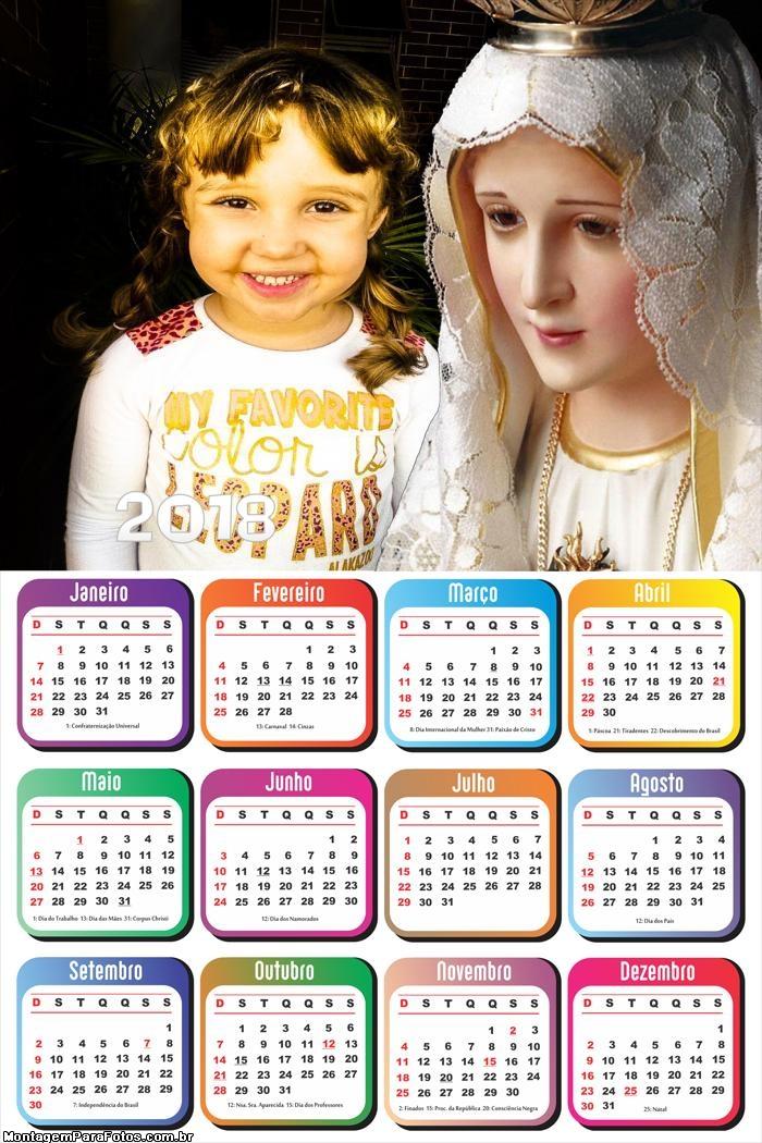 Calendário 2018 Nossa Senhora de Fátima