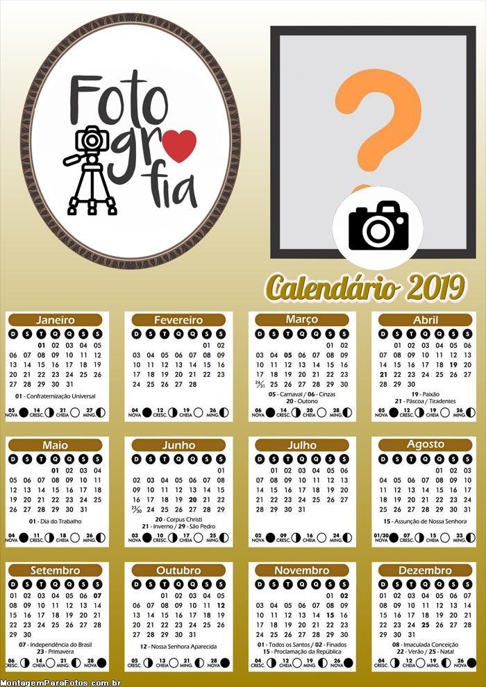 Calendário Fotografia 2019